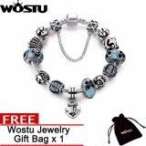 ขาย Wostu Antique Silver Color Anchor Pendant Safety Chain Flower Beads Shell Charms Bracelets Jewelry Accessories Zbb1908 Intl ออนไลน์ จีน