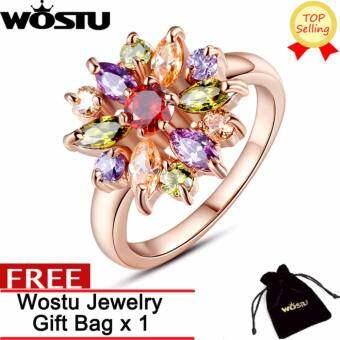 WOSTU การจัดส่งสินค้าฟรี  เครื่องประดับของแท้ 100% 18 พัน Rose ชุบทองสำหรับสุภาพสตรีที่มี AAA Cubic -