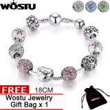 Wostu Jewelry 100 Genuine 4 Colors Silver Charm 18Cm Bangle Bracelet With Love Forever Amour Flowers Heart Crystal Ball For Women Jewelry Gift Wedding Zbb1455 เป็นต้นฉบับ