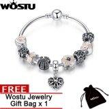 ขาย Wostu Silver Color 19Cm Openwork Heart Pendant Bracelets With Pink Flower Beads Charm Bracelets Bangles For Women Jewelry Zbb3816 Intl ถูก ใน จีน