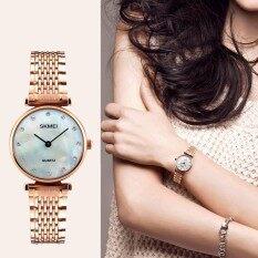 แบรนด์นาฬิกาใหม่แฟชั่นผู้หญิงควอตซ์นาฬิกาสบาย ๆ แต่งตัวสาว Wristwatches Rhinestones กันน้ำกุหลาบทองเงินผู้หญิงนาฬิกา 1223 - นานาชาติ.
