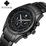ราคา Wwoor 8015 Men Watches Top Brand Luxury Sports Watches Men S Quartz 24 Hours Date Clock Male Waterproof Black Steel Strap Army Military Wrist Watch Black Intl ที่สุด