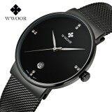 โปรโมชั่น Wwoor 8018 Men S Watch Quartz Men Clock With Stainless Steel Watch Band Ultra Thin Wristwatches Intl Wwoor