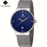 ซื้อ Wwoor Brand Luxury Men Watch นาฬิกาข้อมือ Es Men Quartz Date Ultra Thin Clock Male Waterproof Sports Watch นาฬิกาข้อมือ Gold Casual Wrist Watch นาฬิกาข้อมือ 8018 ถูก