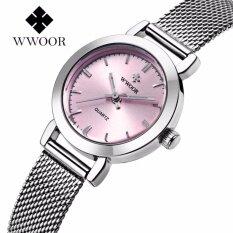 ทบทวน ที่สุด Wwoor Casual Ladies Watch Ultra Thin Stainless Steel Quartz Ladies Watch Casual Watch Bracelet Ladies Lover Watch Ladies Watch Gift Intl