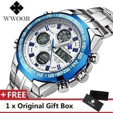 ซื้อ Wwoor Top Luxury Brand Watch Famous Fashion Sports Cool Men Quartz Watches Calendar Alarm Stop Watch Waterproof Stainless Steel Wristwatch For Male Blue Intl ใหม่ล่าสุด