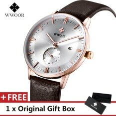 ขาย Wwoor Top Luxury Brand Watch Famous Fashion Sports Cool Men Quartz Watches Calendar Waterproof Leather Wristwatch For Male Brown White Intl ใหม่