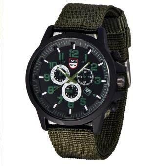 XINEW 2229D แฟชั่นผู้ชายควอตซ์นาฬิกาสายคล้องคอไนลอนนาฬิกาข้อมือกีฬาสีเขียว + ดำ-นานาชาตินาฬิกาข้อมือนาฬิกานาฬิกา-