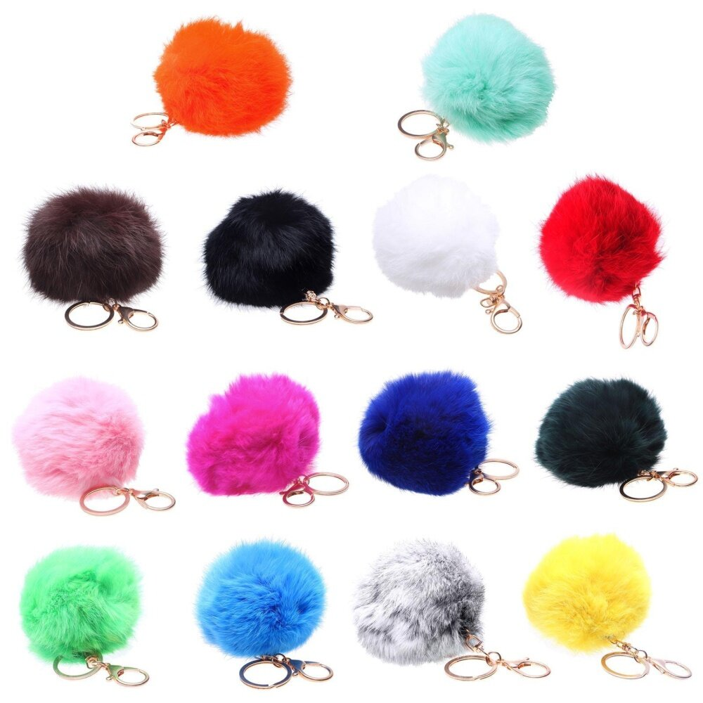 คูปอง xupei Novelty Artificial Fur Ball Charm Key Chain For Car Key Ring Or Bag, Gray – intl