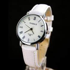 YAZOLE คลาสสิกสายรัดข้อมูลหนังสุภาพสตรีแฟชั่น JOKER Bussiness นาฬิกาข้อมือ QUARTZ