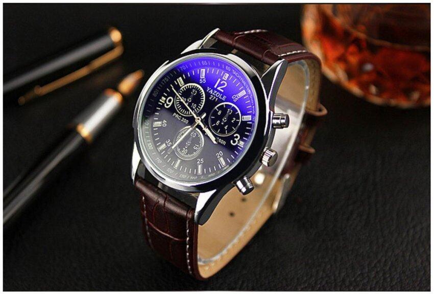 ฿180.00; แฟชั่น Yazole VINTAGE Unisex สายหนังแสตนเลสเหล็กแร่ควอทซนาฬิกาข้อ