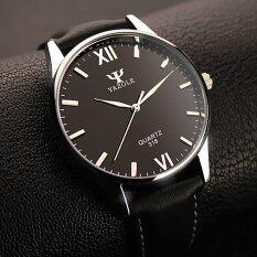 ขาย Yazole คนธุรกิจนาฬิกาข้อมือหนังควอทซ์ สีดำ Yazole ถูก