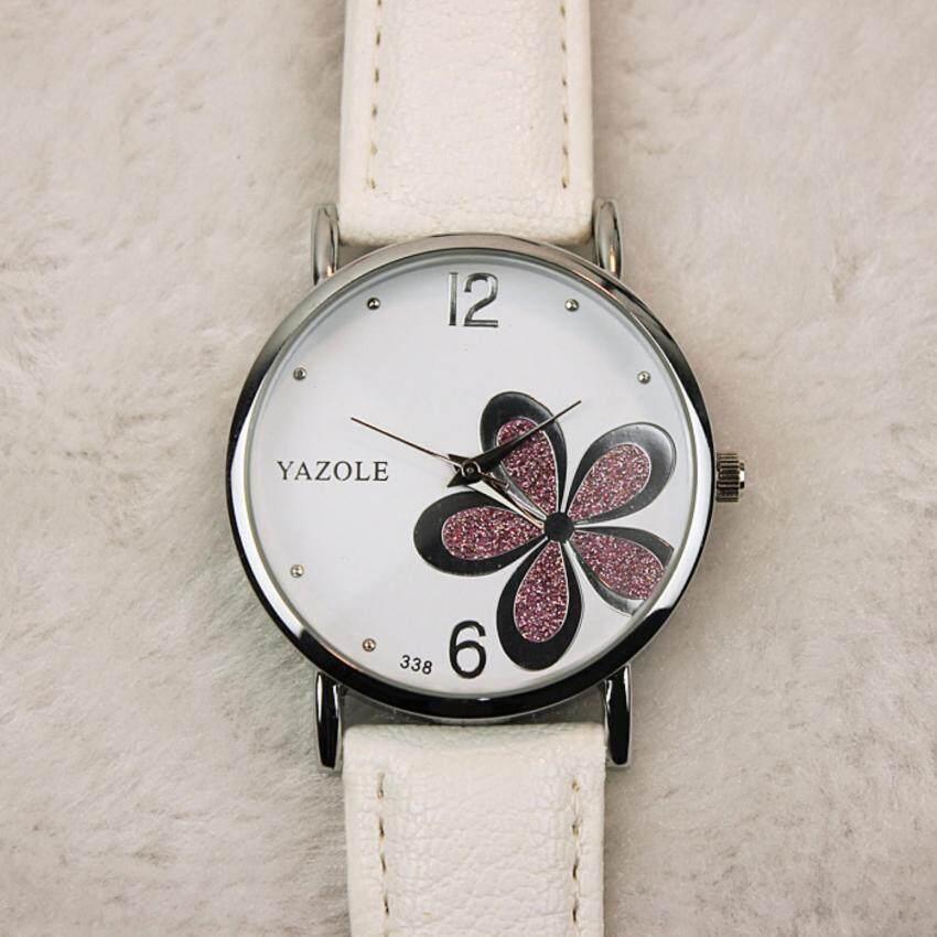 Yazole รอบหน้าปัดสแตนเลสสตีลกลับกันน้ำลายดอกไม้สายสีดำนาฬิกาหนัง - INTL