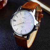 ขาย ซื้อ Yazole Vintage Men Leather Band Fashion Stainless Steel Sport Bussiness Quartz Wrist Watch Yzl332 Brown ใน จีน