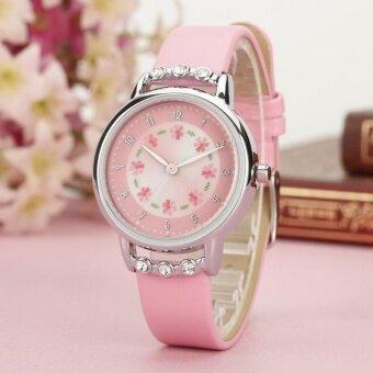 YBC สาวๆพลอยเทียมนาฬิกาดอกไม้หนังเทียมหนังควอตซ์นาฬิกาข้อมือนักเรียน-นานาชาติ