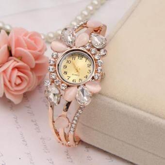 YBC ผู้หญิงดอกไม้กำไลไรน์สโตนนาฬิกาควอตซ์หรูนาฬิกาข้อมือ - INTL