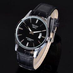 ทบทวน Yidabo แฟชั่นเครื่องหนังหรูสันทนาการวันบุรุษนาฬิกาข้อมือควอตซ์ สีดำ