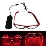 โปรโมชั่น Yika Led El Wire Glasses Light Up Glow Sunglasses Eyewear Shades For Nightclub Party Intl ใน จีน