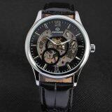 ราคา Yika กลไกอัตโนมัติที่มนุษย์ไขลานนาฬิกาข้อมือหนังวันที่ สีดำ เงิน Yika เป็นต้นฉบับ