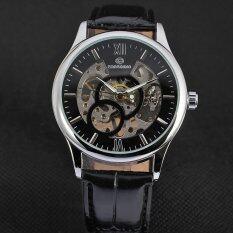 ขาย Yika กลไกอัตโนมัติที่มนุษย์ไขลานนาฬิกาข้อมือหนังวันที่ สีดำ เงิน Yika ผู้ค้าส่ง