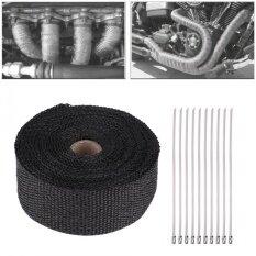 ส่วนลด สินค้า Justgogo 33Ft ฉนวนกันความร้อนท่อไอเสียท่อผ้าเทปสำหรับรถจักรยานยนต์รถดำ