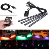 ซื้อ Justgogo 4Pcs 5V 12 Smd Car Strip Lights Interior Rgb Atmosphere Light With Remote Control ออนไลน์ จีน