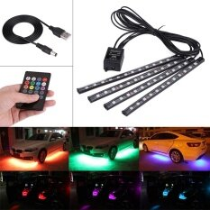 ราคา Justgogo 4Pcs 5V 12 Smd Car Strip Lights Interior Rgb Atmosphere Light With Remote Control ใน จีน