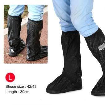 Justgogo กันน้ำกันลื่นรองเท้าสำหรับ Rainy เต็มไปด้วยหิมะวันสำหรับรถจักรยานยนต์จักรยานสีดำแอล-