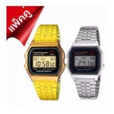 Zazzy Dolls แพ็คคู่ นาฬิกา ซื้อ 1 แถม 1 รุ่น Zd-0041 สีทอง ฟรี Zd-0041 สีเงิน สายแสตนเลส หน้าปัดไฟled สไตล์แบรนด์ดัง นาฬิกาข้อมือผู้หญิง นาฬิกาสไตล์เกาหลี นาฬิกาแฟชั่น นาฬิกาเกาหลี นาฬิกาแพ็คคู่  .