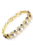 ซื้อ Zuncle Roman Mosaic 3A Zircon 18K Gold Plated Ladies Bracelet Blue ออนไลน์ ถูก