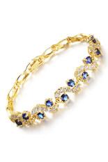 ราคา Zuncle Roman Mosaic 3A Zircon 18K Gold Plated Ladies Bracelet Blue ออนไลน์ จีน