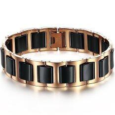 ซื้อ Zuncle Simple Stylish Men Titanium Steel Ceramic Bracelet Black ถูก จีน