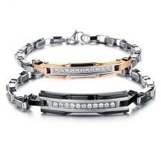ซื้อ Zuncle Students Creative Romantic Couple Diamond Bracelet Jewelry Wholesale Titanium Steel Jewelry Black Golden ใหม่ล่าสุด
