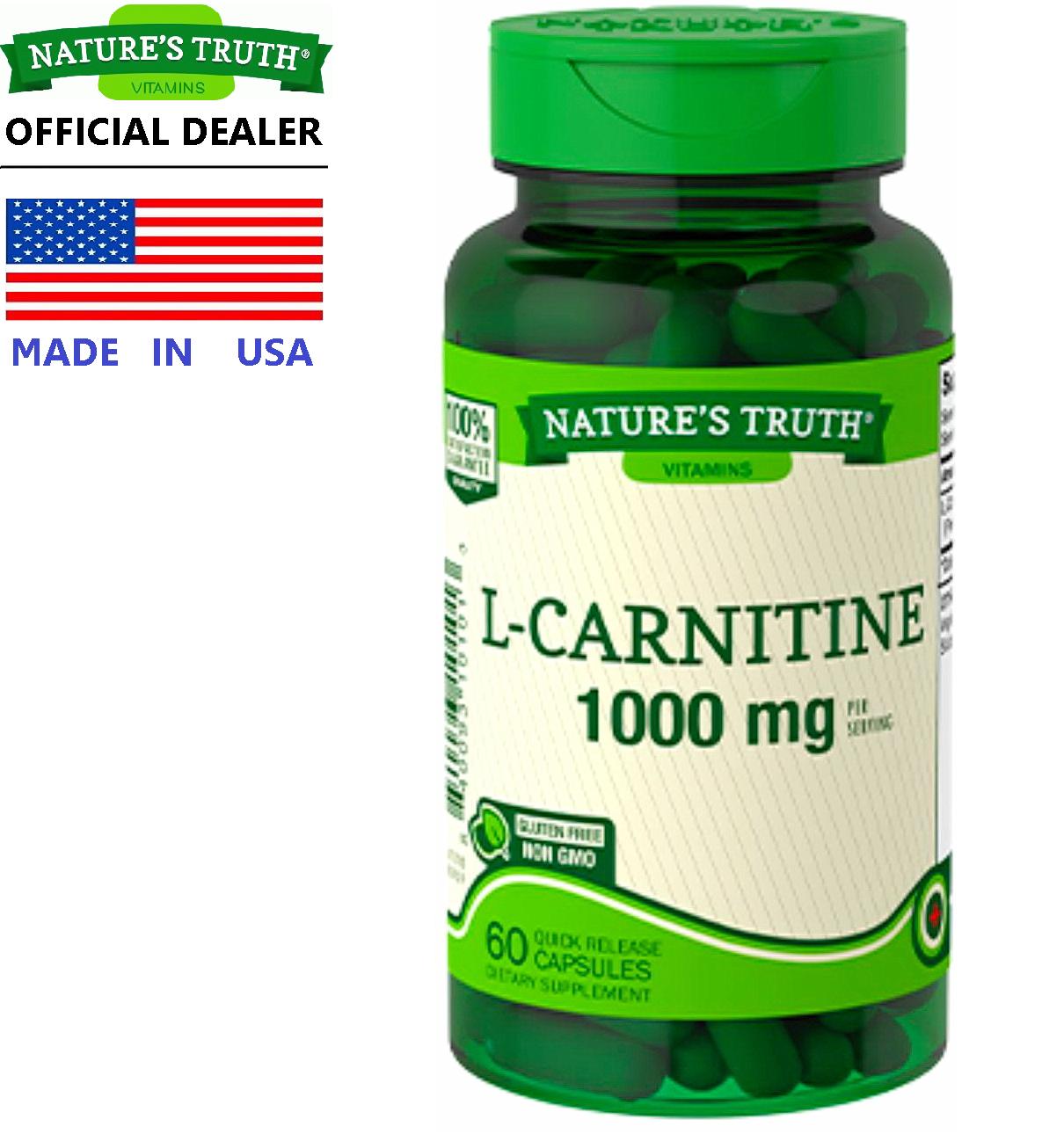 รีวิว Nature's Truth L-Carnitine 1000 mg/s x 60 เม็ด เนเจอร์ทรูทร์ แอล-คาร์นิทีน กรดอะมิโน คาร์นิทีน ไขมันเป็นพลังงาน / กินพร้อมกับ แอปเปิ้ลไซเดอร์ บีซีเอเอ ชาเขียวสกัด ไคโตซาน การ์ซีเนีย ส้มแขก สารสกัดถั่วขาว โปรไบโอติกส์ น้ำมันปลา /