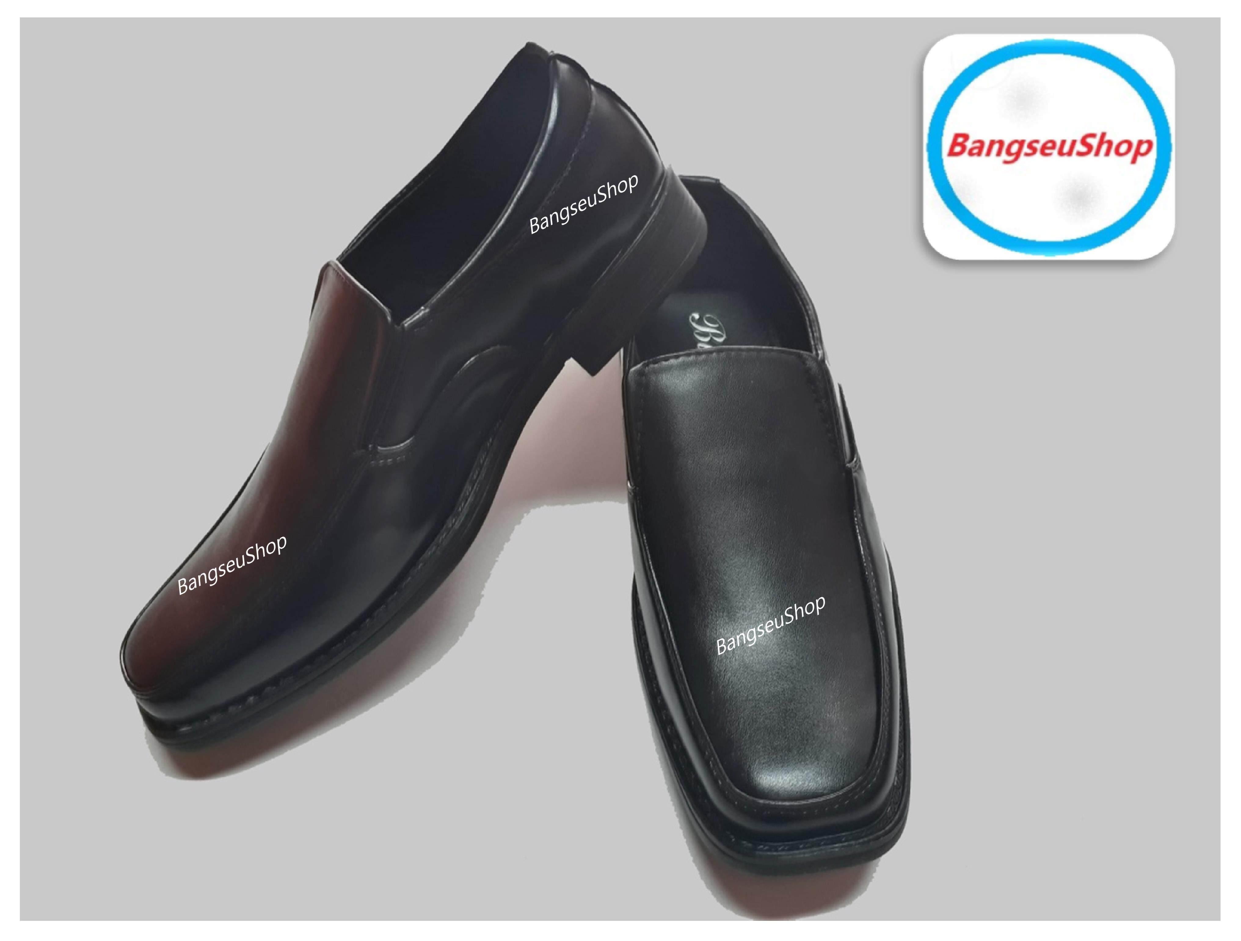 รองเท้าหนังชาย รองเท้าคัชชู พื้นเย็บ สีดำ.