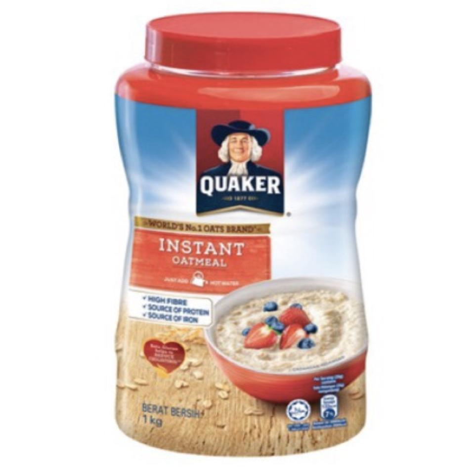 Quaker Instant Oatmeal เควกเกอร์ ข้าวโอ๊ต ปรุงสำเร็จ 1 Kg. (กระป๋อง).