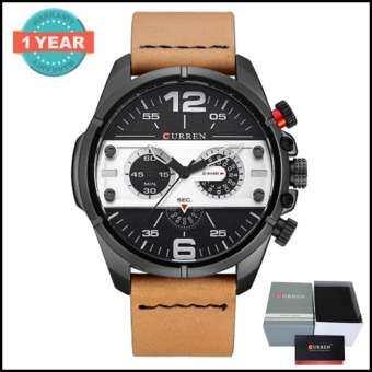 Curren นาฬิกาข้อมือผู้ชาย สายหนัง ทนทานหน้าปัดสปอร์ตเท่ห์ สีน้ำตาล/ขาว รุ่น C8259 พร้อมกล่องนาฬิกา C-
