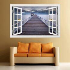 ซื้อ 80X120Cm 3D Creative Window View Wall Sticker Home Decor Decals Grey Scenery Seaside Wood Bridge Pvc Wallpapers ใหม่