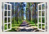80X120Cm Summer Green Path 3D Removable Wall Sticke Creative Window View Wall Art Home Decor จีน