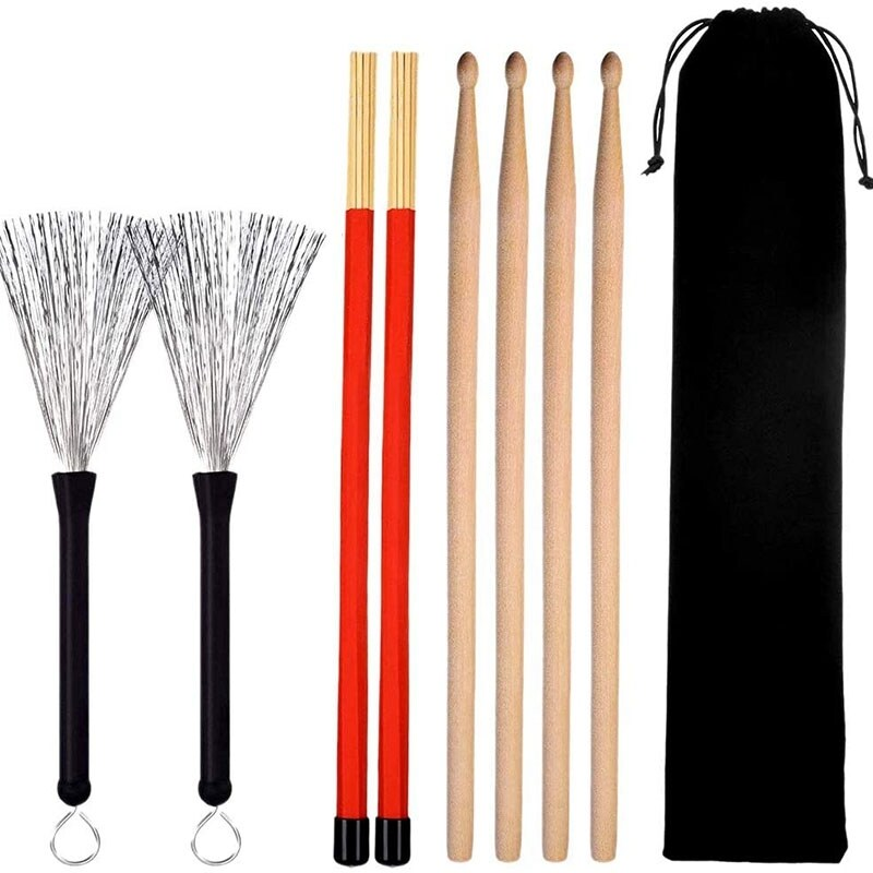 Drum Sticks Set, Maple Wood Drum Sticks, Drum Wire Brushes Retractable Drum Sticks Brush, Drum Stick Dowel Drumsticks