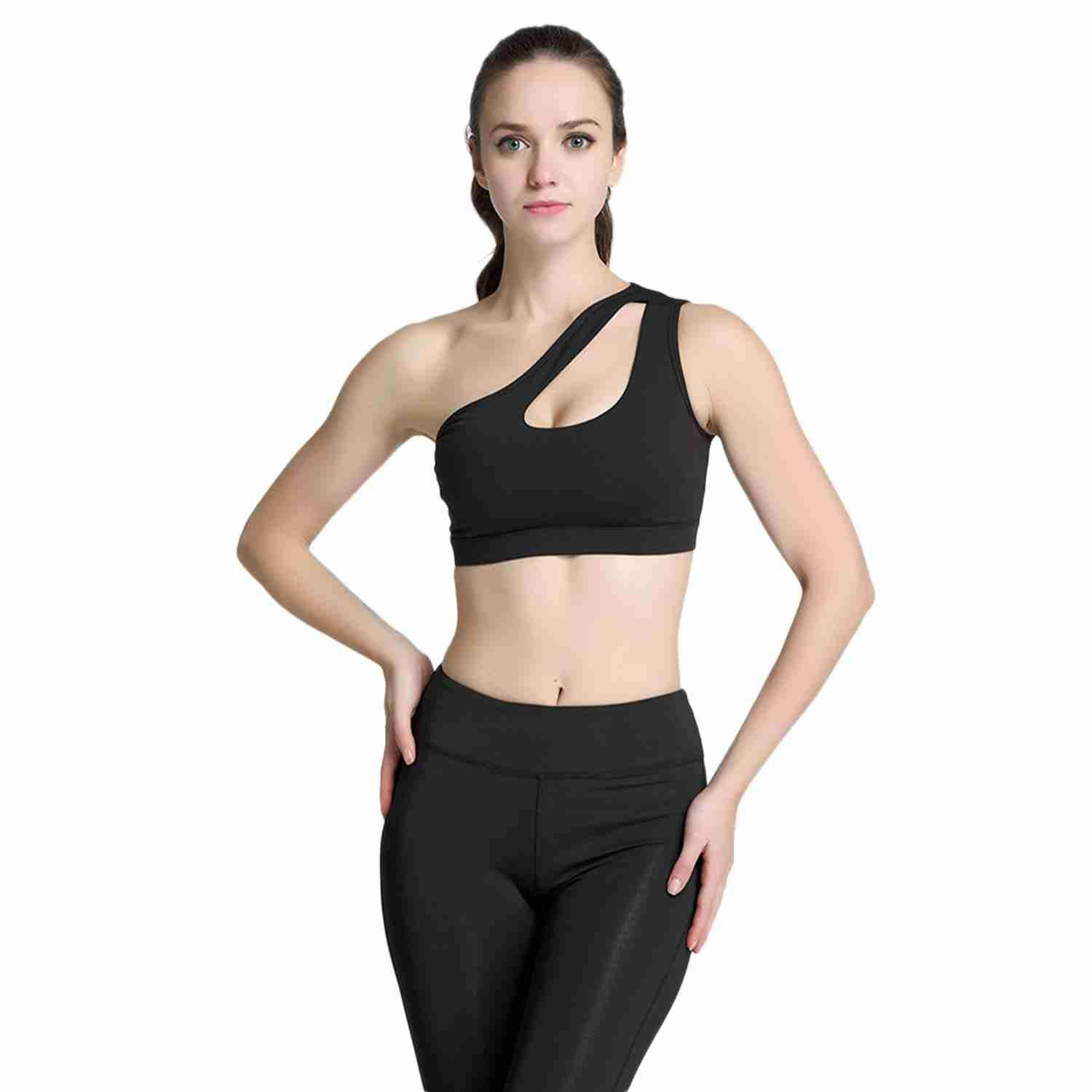 High-Elastic One-Shoulder Sports Bra Ladies Fitness Yoga Bra Gym Thickening Sports Shockproof Underwear Womens Bra By Ertic.