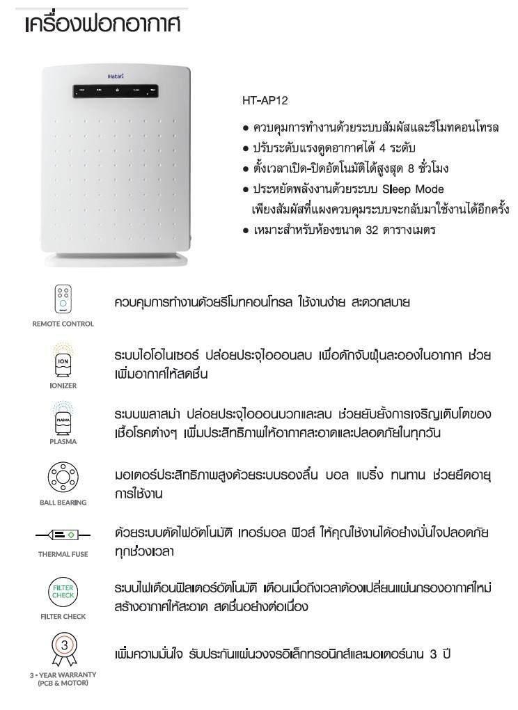 เครื่องฟอกอากาศ PM 2.5 ระบบกรอง 4 ขั้นตอน สารก่อภูมิแพ้ แบคทีเรีย เชื้อรา กลิ่นและควันพิษ HATARI รุ่น HT-AP12 แถมฟรี แผ่นกรอง 1 ชุด