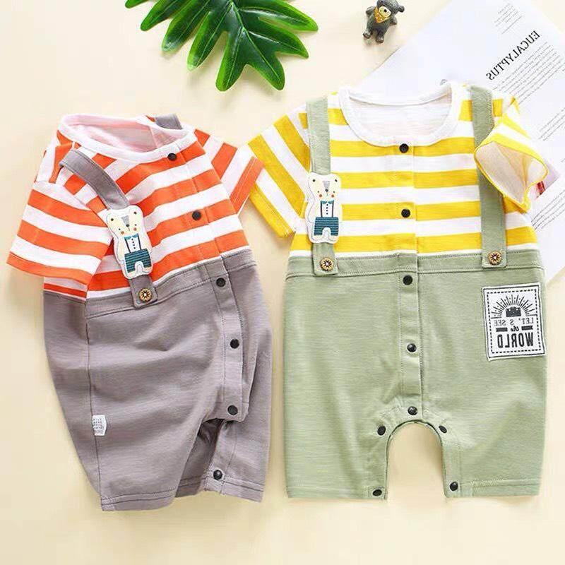 เสื้อผ้าเด็กน่ารัก ชุดเซทบอดี้สูทเอี้ยมลายขวางปักหมี มี 2 สีให้เลือก ใส่ได้ทั้งชายและหญิง กระดุมผ่ากลางผ้านิ่ม N.05 By Mam Love Babystore..