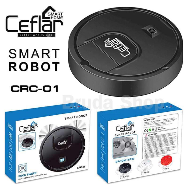 Bruda Shop เครื่องดูดฝุ่นไร้สาย หุ่นยนต์ดูดฝุ่นอัตโนมัติ แบบชาร์จไฟ รับประกัน 1 ปี แบรนด์ Ceflar รุ่น CRC-01