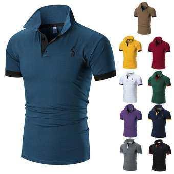 เสื้อยืดโปโล POLO สี ม่วง ดำ ขาว แดง เขียว เหลือง ฟ้า ไซส์ M L XL summer slim t-shirt polo-