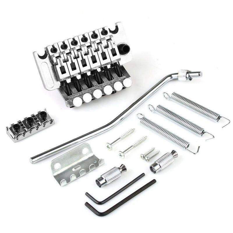 Electric Guitar Tremolo Bridge Assembly Double System Parts 2 Point St Strat Style Guitar Tremolo Bridge Locking System (Silver)
