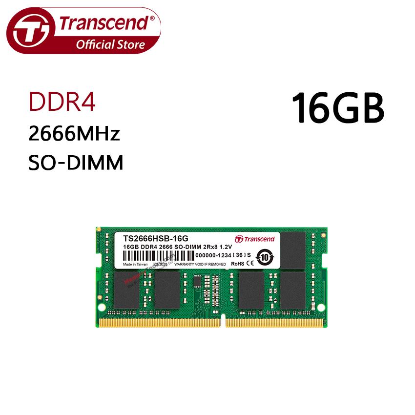Transcend 16gb Ddr4 2666 So-Dimm Memory (ram) For Laptop, Notebook (ts2666hsb-16g) แรมสำหรับเครื่องคอมพิวเตอร์พกพา(เครื่องโน้ตบุ๊ก).