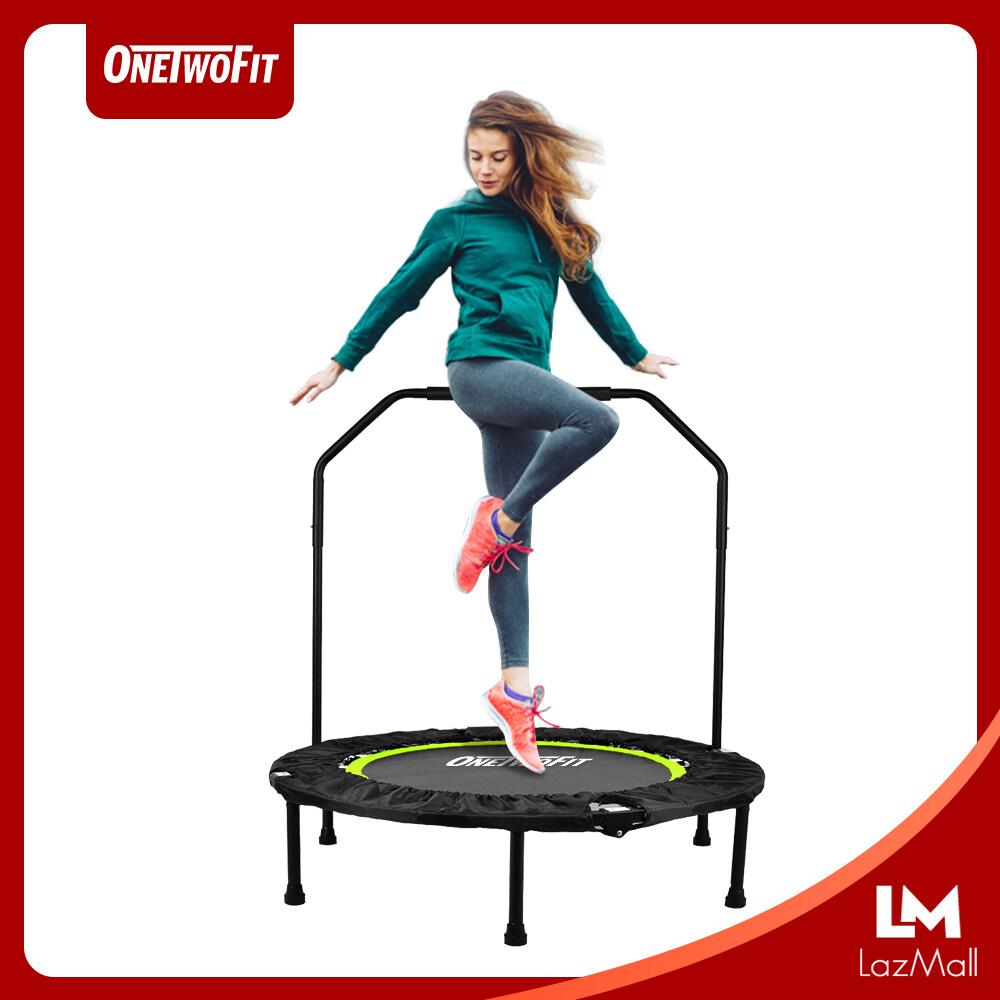 Onetwofit เทมโพลีน ขนาด 40 นิ้ว แทรมโพลีน เตียงกระโดด ที่กระโดด ออกกำลังกาย ฟิตเนต อุปกรณ์กีฬา ที่จับเป็นทรงสี่เหลี่ยมจับถนัดมือ.