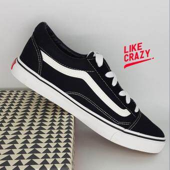 รองเท้าผ้าใบผู้ชาย สีดำ(black) ทรงVANS ยอดนิยม LIKE_CRAZY สวมใส่ง่ายสบาย พร้อมทุกจังหวะ!!!!