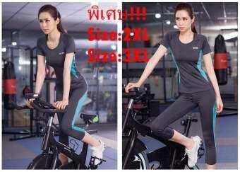 SIBOON  ชุดออกกำลังกาย ชุดโยคะ  ฟิตเนส เสื้อแขนสั้น + กางเกงขาสี่ส่วน(2ชิ้น) สำหรับผู้หญิง Sport and Yoga Suit Top & Long (Black-blue)-